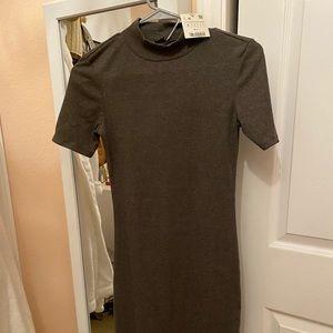 Zara grey ribbed tee body-con dress